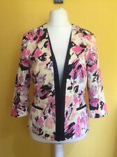 M&S Limited Collection Black Multicolour Floral Print Lined Jacket Blazer UK 12