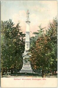 """Sheboygan, Wisconsin Postcard """"Soldiers' Monument"""" Statue View 1910 WIS. Cancel"""