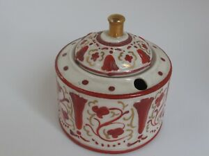 Antique Porcelain Inkwell Red & Gold Dwight Morris