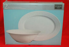 "Gibson Studio White Porcelain Serving Bowl & 14"" Oval Platter Set M4528"