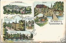 Rudolstadt, Altstadt , Musik-Pavillon, alte Litho-Ansichtskarte um 1900