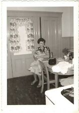 Vintage Photograph Mom Holding Baby in Lap in Retro Kitchen Decor