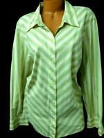 Liz claiborne beige blue v striped long sleeve plus size button down top 22W