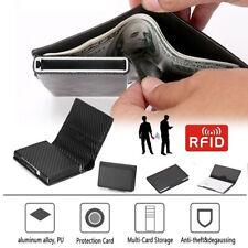 Credit Card Holder Leather RFID Blocking Metal Wallet Money Clip for Men