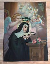 Vintage St. Rita Tin Lithograph Religious Print. John Duffy, NY lithographer