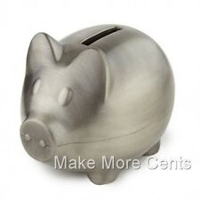 Deluxe Piggy Bank by Leeber - Pewter Finish - FREE SHIPPING