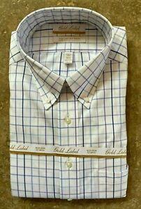 Roundtree & Yorke Gold Label Dress Shirt 19 34/35 Big Man Multi Checked NWT $75