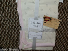 STERLING BABY RECEIVING BLANKET COTTON KNIT HEARTS PINK CREAM GIRL INFANT SOFT