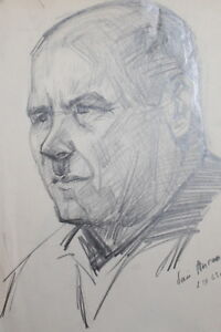 1963 IMPRESSIONIST MALE PORTRAIT PENCIL DRAWING SIGNED