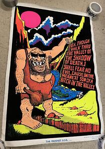 """1974 VTG Blacklight Poster """"The Meanest SOB"""" Felt Flocked/Velvet Caveman 36""""x24"""""""
