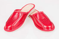 Women`s/Ladies Leather Slippers 100% Natural Leather size:UK 3,4,5,6,7,8 RED