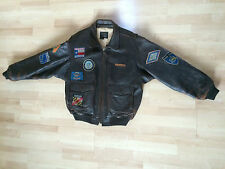 Mens Averex G-1 US Navy flight Jacket leather top gun 14 state patches XL