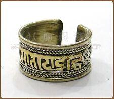 Half Inch Wide Adjustable Tibetan Filigree Golden OM Mani Padme Hum Amulet Ring