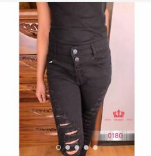 5 BUTTONS TATTERED JEANS LH0180 Size 28