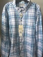BARBOUR Christopher Country Checks Long Sleeve Shirt Aqua size: Large