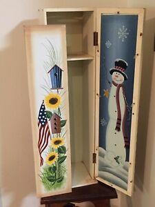 "Wooden Storage Cabinet Bathroom Tissue Holder Seasonal Inserts Upright Tall 25"""
