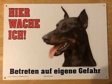 Doberman Beware Of Dog Sign In German - Great Gift