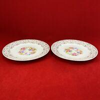 National Brotherhood 2 plates ROYAL 6.25 in Floral design 22 K gold rimmed
