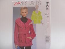 McCall's 5981 M5981, Unlined Jackets & Belt Pattern, 2 Lengths Size 12-20
