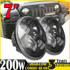 PAIR 7INCH H4 200W CREE LED Driving Light Headlight High-Low Beam Lamp Round HID