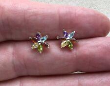 """Crystal Silver-Tone Dainty 3/8"""" Flower Pinwheel Stud Earrings"""