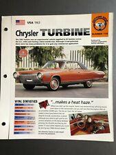 1963 Chrysler Turbine Coupe IMP Hot Cars Spec Sheet Folder Brochure Awesome