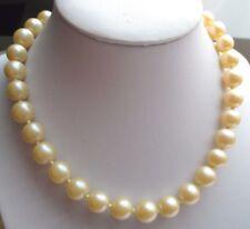 Bijou Vintage collier ancien perles nacrées beige crochet couleur argent *2056