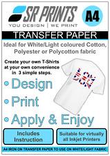 5 x A4 Iron On Inkjet Print Heat Transfer Paper For White/Light Garments