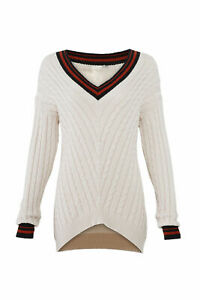 Joie Women's Sweater Beige Size M V-Neck Striped Cable-Knit High-Low $298- #526