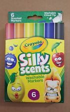 Crayola 6 Pack Of Silly Scents Washable Chisel Tip Markers~For Ages 3+~New