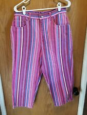 bill blass jeans capris denim pink blue striped sz 10 easy fit mom high-waisted
