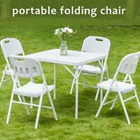 Set Of 4 Commercial Folding PE Molded Chairs Portable Plastic Chairs White