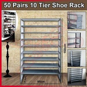 CASA 50 Pairs 10 Tiers Stackable Storage Shoe Rack Cabinet Organiser Steel Gray