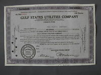 GULF STATES UTILITIES COMPANY - STOCK CERTIFICATE Aktie share action azione