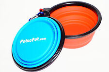 Colapsible Pet Food Bowl (Set of 2). BPA Foldable Silicone bowl with a carabiner