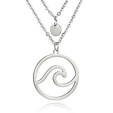 Wave Pendant Multi Layer Choker Necklace - UK Stock