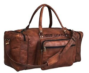 Mens Superior Leather Quality Travel Bag Duffel Gym Luggage Overnight Weekender