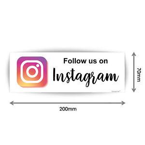 Follow Us On Instagram Business Sign Vinyl Waterproof Sticker 200mmX70mm V1210