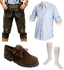 5-teiliges Trachtenset C Trachtenlederhose 46-60 Träger,Schuhe,Hemd lange Socken