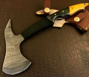 Handmade Axe Damascus Steel Spike-Hatchet-Hiking-Functional-Leather Sheath-JD202