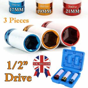"3pc Alloy Wheel Nut Thin Wall DEEP Impact Socket Set 1/2"" drive 17mm 19mm 21mm"