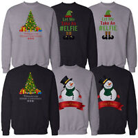 Mens Christmas Sweatshirt Novelty Xmas Snow Man Elf Print Sweater Pullover Top