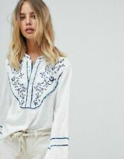 Free People Sundance Kid Henley Embroidered White Button Tunic Top New M Floral