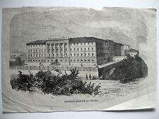 antica mappa old print VERONA BORGO TRENTO OSPEDALE MILITARE FRANZ JOSEF I. 1858