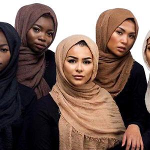 New Crinkle Scarf Ladies Hijab Plain Maxi Headscarf Crimp Scarves Shawl Ruffle