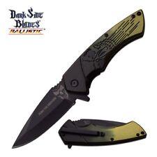Spring Assist Folding Pocket Knife Dark Side Blade Black Green Skull Ds-A053Gn