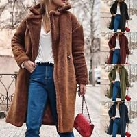 Womens Thick Warm Teddy Bear Pocket Jackets Coat Open Outwear Overcoat