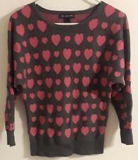 Inc international concepts Womens SM Gray/Pink Heart Sweater