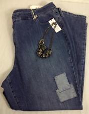 Style&co. blue plus size mid rise skinny leg patch spandex denim jeans 24W