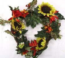 Fall Wreath Door Hanging Autumn Leaves Sunflowers Autumn Accents 14""